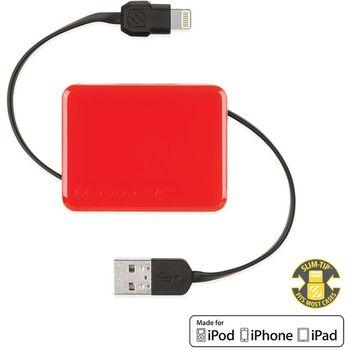 Scosche boltBOX I2BOXRD navíjecí USB kabel s Lightning konektorem, červená
