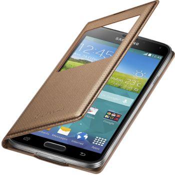 Samsung flipové pouzdro S-view EF-CG900BD pro Samsung Galaxy S5 (SM-G900), zlaté, rozbaleno