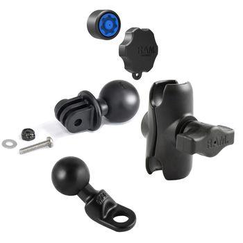 RAM Mounts adaptér pro outdoorové kamery GoPro Hero s krátkým ramenem se zabezpečením na motorku na zpětné zrcátko s Ø do 9 mm, sestava RAM-B-180-GOP1-KNOB3-AU