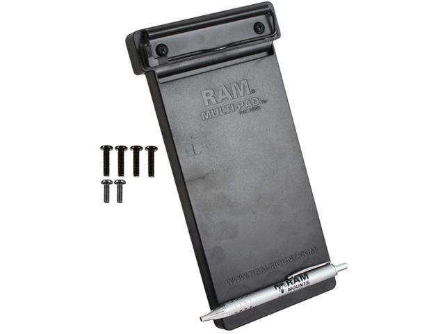 """obsah balení RAM Mounts držák na zápisník Multi-pad organizer s dlouhým ramenem na berany letadla pro průměr 15,9 - 32 mm, s 1"""" čepem, sestava RAM-B-121-MP1-CU"""