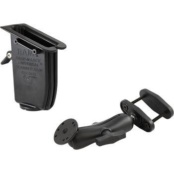 """RAM Mounts univerzální držák s pojistkou na ruční čtečky čárových kódů na vysokozdvižné vozíky s úchytem pro hranatý profil 0-63 mm s 1,5"""" čepem, sestava RAM-247-25-317-U"""