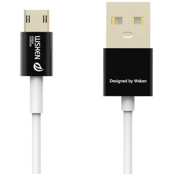 WSKEN MicroUSB nabíjecí/datový kabel, oboustranné konektory,(USB i microUSB) černé koncovky, 1metr