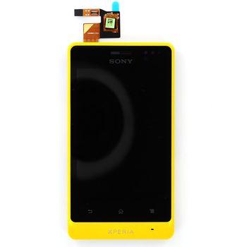 Náhradní díl LCD displej s dotykovou vrstvou a předním krytem pro Sony Xperia GO ST27i, žlutá