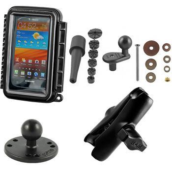 RAM Mounts vodotěsný držák na mobilní telefon na motorku na řídítka do středu vidlice, AQUABOX™ střední, sestava RAM-B-176-AQ2U