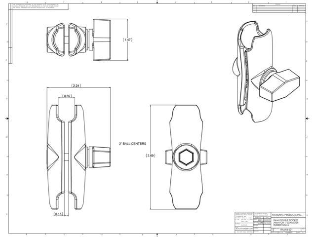 """obsah balení RAM Mounts sestava pro držák s 1"""" čepem a s úchytem na motorku s upnutím šrouby M10 do řídítek, vysokopevnostní plast,RAP-B-349-XU"""