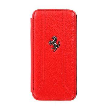 Ferrari Folio kožené pouzdro pro iPhone 5, červené