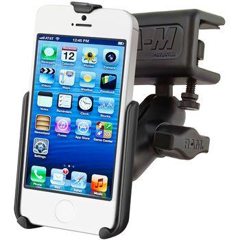 RAM Mounts držák na iPhone 5 a 5S s krátkým ramenem a úchytem do letadla na clonu / na desku tloušťky 4,4 - 28,0 mm, sestava RAM-B-177-A-AP11U